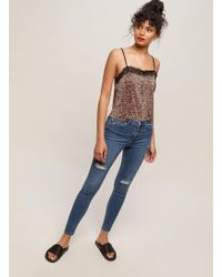 Miss Selfridge - Lizzie High Waist Super Skinny Sky Blue Ripped Jeans - Lyst