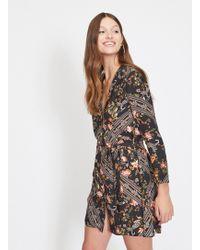Miss Selfridge - Black Scarf Print Button Front Mini Dress - Lyst