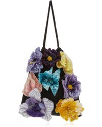 Attico - 3d Embroidered Flowers Pouch - Lyst