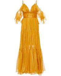 Maria Lucia Hohan - Majda Metallic Mousseline Midi Dress - Lyst