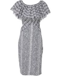 Frederick Anderson - Ruffle Collar Tweed Dress - Lyst