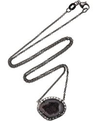 Kimberly Mcdonald - 18k White Gold, Diamond And Dark Geode Necklace - Lyst