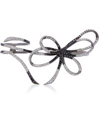 Colette - Belle Two-tone 18k Black Gold And Diamond Three-finger Ring - Lyst