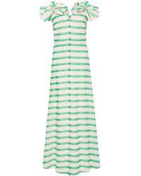 Delpozo - Bow-embellished Striped Midi Dress - Lyst