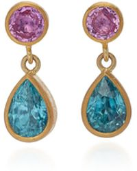 Mallary Marks - Bon Bon 18k Gold, Pink Sapphire And Zircon Earrings - Lyst