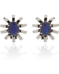 Jack Vartanian - Gala 18k White Gold And Black Rhodium Sapphire Earrings - Lyst