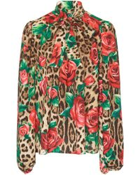 Dolce & Gabbana - Floral And Leopard Crepe Pussybow Blouse - Lyst