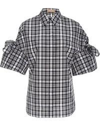 Michael Kors - Tie Sleeve Gingham Shirt - Lyst
