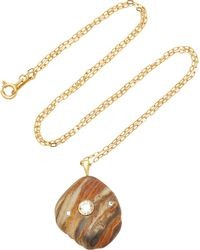 CVC Stones - Auburn 18k Gold, Beach Stone And Diamond Necklace - Lyst