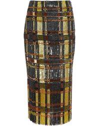 Sally Lapointe - Fringe-hem Sequin-embroidered Skirt - Lyst