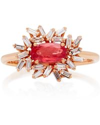 Suzanne Kalan - One-of-a-kind 18k Rose Gold Rhodonite And Diamond Ring - Lyst