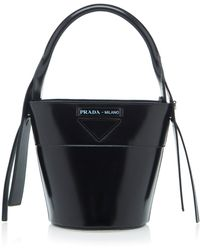 751545294c60 Prada City Calf And Saffiano Top Handle With Robot in Black - Lyst