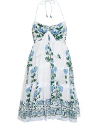 Juliet Dunn - Tie-front Printed Cotton-voile Halterneck Dress - Lyst