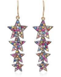 She Bee - Rhodium-plated Sapphire Star Drop Earrings - Lyst