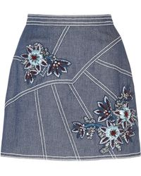 Andrew Gn - Floral-embroidered Denim Skirt - Lyst