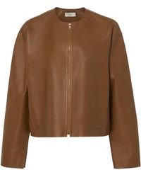 Vince - Cropped Collarless Leather Jacket - Lyst