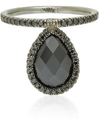 Nina Runsdorf - Medium Black Diamond And 18k Blackened Gold Flip Ring - Lyst