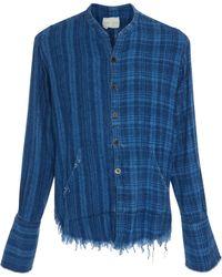 Greg Lauren - Frayed Plaid Shirt - Lyst