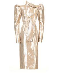Atelier Kikala - Puff Shoulder Midi Dress - Lyst