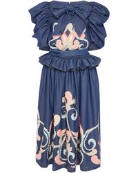Manish Arora - Embroidered Ruffle Denim Dress - Lyst