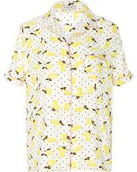 Piamita - Jill Silk Lemon Print Pyjama Top - Lyst