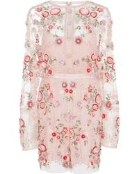 Needle & Thread - Meadow Floral Embroidered Playsuit - Lyst