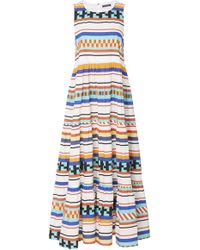 3a91f2947ee MDS Stripes - Printed Cotton Peasant Dress - Lyst