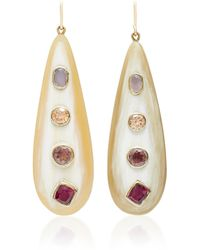 Ashley Pittman - Upendo Rose Quartz, Orange Zircon, Pink Amethyst, And Garnet Earrings - Lyst