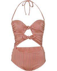 Tori Praver Swimwear - Roux Cut-out Striped One-piece Swimsuit - Lyst