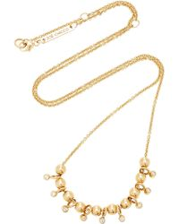 Zoe Chicco - 14k 10 Gold Sliding Beads And Dangle Diamond Necklace - Lyst