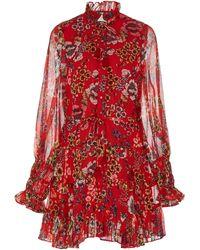 Alexis - Jaila Floral-print Ruffled Chiffon Mini Dress - Lyst