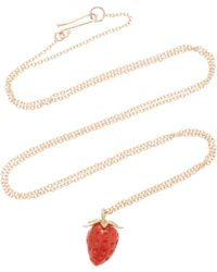 Annette Ferdinandsen - Strawberry 18k Gold And Coral Pendant Necklace - Lyst