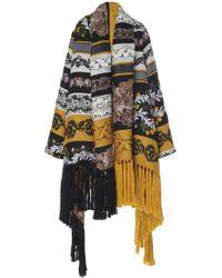 Oscar de la Renta - Fringe Embroidered Blanket Coat - Lyst
