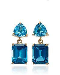 Yi Collection | 18k Gold Blue Topaz Earrings | Lyst