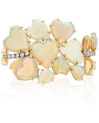 Irene Neuwirth - One-of-a-kind 18k Gold Carved Opal Hearts And Diamond Bracelet - Lyst