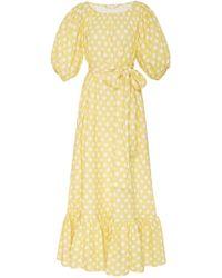 Lisa Marie Fernandez - Linen Belted Prairie Linen Midi Dress - Lyst