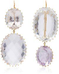 Renee Lewis - 18k Gold, Amethyst And Quartz Earrings - Lyst