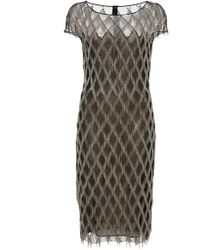 31fdfd24a7 Lyst - Naeem Khan Sequin-stripe Shift Dress in Gray
