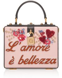 39a4056fb9a4 Dolce   Gabbana - Embellished Leather Box Tote - Lyst