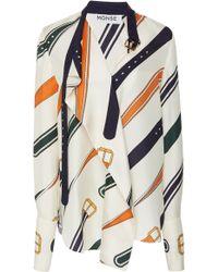Monse - Belt Collar Print Blouse - Lyst