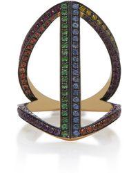 Noor Fares - Geometry 101 Rainbow Rhombus 18k Gold Pinkie Ring - Lyst