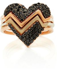 Kwiat - M'o Exclusive Set Of Four Black Pave Heart Throb Ring - Lyst