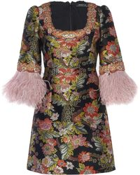 Andrew Gn - Feather-trimmed Floral-jacquard Mini Dress - Lyst