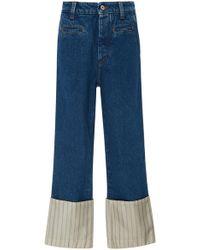 Loewe - Striped Poplin-paneled High-rise Straight-leg Jeans - Lyst