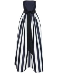 Monique Lhuillier - Striped Mikado Bow-waist Strapless Ball Gown With Full Skirt - Lyst