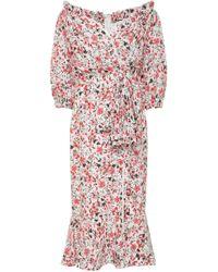 Saloni | Olivia Lace-trimmed Floral-print Silk Dress | Lyst