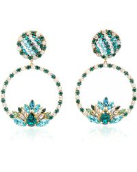 Shourouk - Hula Hoop Green Earrings - Lyst