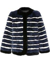 Pologeorgis - The Greta Striped Rabbit Jacket - Lyst