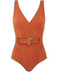 Lisa Marie Fernandez - Yasmin Belted Textured Swimsuit - Lyst