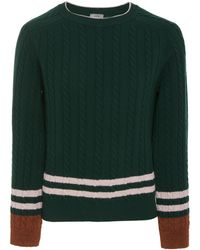 Lanvin - Striped Wool And Cashmere-blend Cable-knit Jumper - Lyst